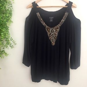 Lane Bryant Beaded and Studded Cold Shoulder Top
